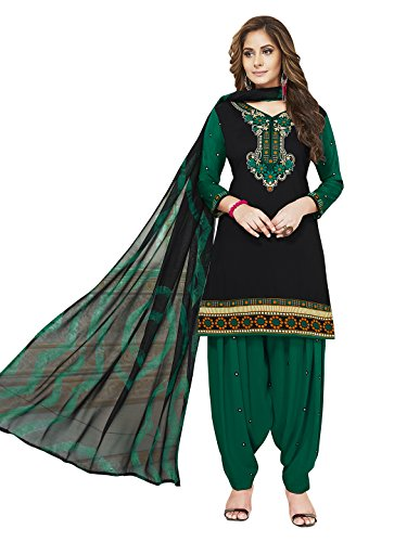 Jevi Prints Women's Unstitched Synthetic Crepe Black & Green Solid Printed Salwar...