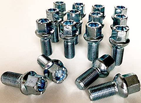 Lot de 16Boulons de roue en alliage filetage M14x 1,5Longueur 27mm, rayon Siège, 17mm Hex Convient pour VW Volkswagen