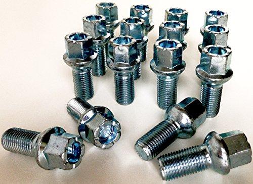 Lot de 16 Alliage Boulons de roue M14 x 1,5 Filetage 27 mm de long, Radius Seat, 17 mm hexagonale Convient pour Audi