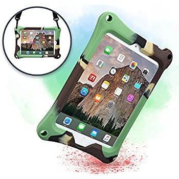 Cover Apple iPad Mini 4 3 2 1, Custodia Rigida COOPER BOUNCE STRAP Silicone Maxi Protezione Super Resistente Ottima per Bambini Viaggio Auto Supporto Tracolla con Cavalletto, militare