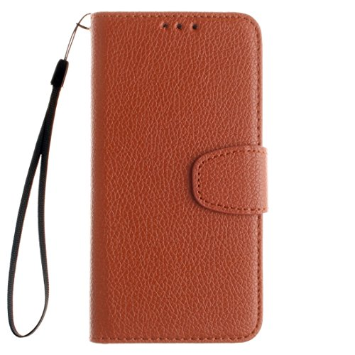 Für Samsung Galaxy E5 Litchi Textur Horizontale Flip PU Leder Cover Case mit Halter & Card Slots & Wallet & Photo Frame & Lanyard by diebelleu ( Color : Red ) Brown