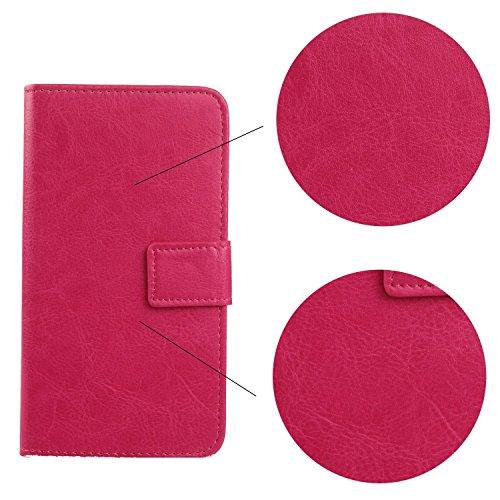 Gukas Housse Coque Pour Apple iPhone 4 4G 4S PU Leather Cuir Etui Case Cover Flip Protection Portefeuille Wallet Brun Rose