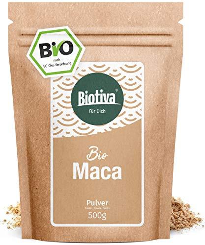 Maca Bio - 500g Pulver - Einführungspreis - Ohne Zusätze - Premium Bio-Qualität - Hergestellt und kontrolliert in Deutschland (DE-ÖKO-005) - 100{cf6e36b76024532103e181b19bdc38e01383449b50175980ad41f564819da8a3} Vegan - Direkt vom Hersteller