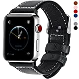 Fullmosa kompatibel Apple Watch Armband 42mm(44mm Series 4) in 7 Farben, Grobe Litschi Textur Ersatz Lederarmband für Apple Watch Band iwatch Series 4/3/2/1, Schwarz 42mm(44mm)