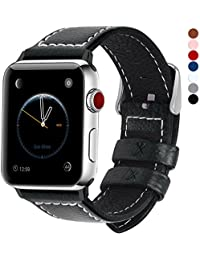 Apple Watch Armband in 7 Farben, Fullmosa® Uhrenarmband 38/42mm Grobe Litschi Textur Ersatz Lederarmband für Apple Watch Band iwatch Series 1 Series 2 Series 3, Schwarz 42mm