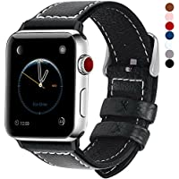 Fullmosa Compatible avec Bracelet Apple Watch 42mm(44mm Serie4) en Cuir Véritable, 7 Couleurs pour Bracelet Apple Watch/iwatch Series 4,3,2,1 avec Métal Fermoir, Noir 42mm/44mm