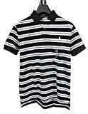 RALPH LAUREN Herren kurzarm Poloshirt Custom Fit STRIPE-BLACK (XL)