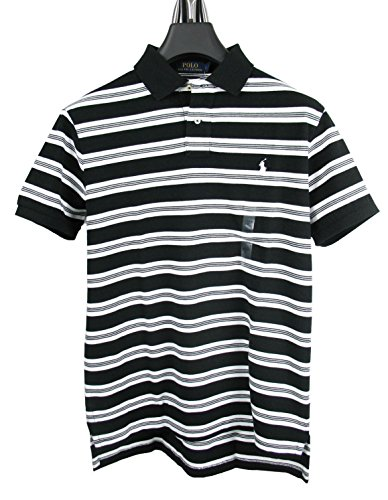 RALPH LAUREN Herren kurzarm Poloshirt Custom Fit STRIPE-BLACK (XXL) (Mesh-polo Big Pony)