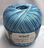 Gründl Filethäkelgarn, Häkelgarn Ombre mit Farbverlauf, 100 Gramm Kone, Farbe: 03 Ocean