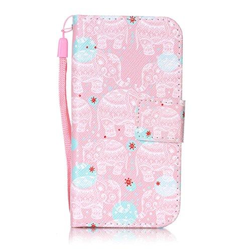 iPhone 5S Hülle, iPhone SE Hülle, Gift_Source [ Lila Henna ] Premium Leder Tasche Flip Case Hülle im Bookstyle mit Standfunktion Kartenfächer Magnetverschluss für iPhone SE/5/5s E1-Rosa Elefanten