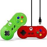 GAMEGUGU Gamepad,Spiel-Controller,Verdrahteter Gamepad Pc Exklusiver Kundenspezifischer Steuerknüppel USB-Prüfer Für SNES Controlers Für Xiaomi Acer-Laptop Pc Gamepads, Rot und Grün
