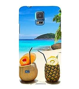 Fiobs Designer Back Case Cover for Samsung Galaxy S5 :: Samsung Galaxy S5 G900I :: Samsung Galaxy S5 G900A G900F G900I G900M G900T G900W8 G900K (Coconut Pineapple Beach Sea Trees Friends)