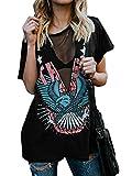 Outgobuy Frauen Sexy Punk Rock N Rolle Adler Druck T-Shirt Casual V-Ausschnitt Kurzarm Distressed T Shirts (Schwarz, S)