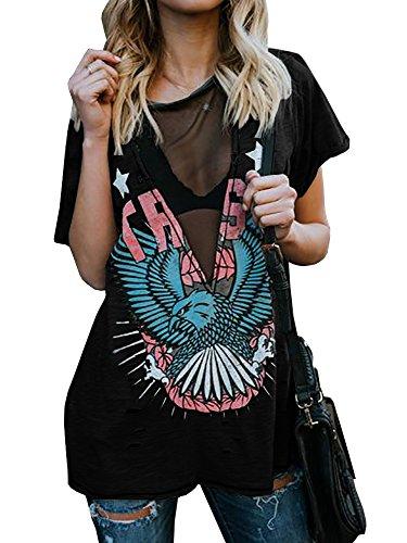 Outgobuy Frauen Sexy Punk Rock N Rolle Adler Druck T-Shirt Casual V-Ausschnitt Kurzarm Distressed T Shirts (Schwarz, S) (Hip-hop-rock-punk-t-shirts)