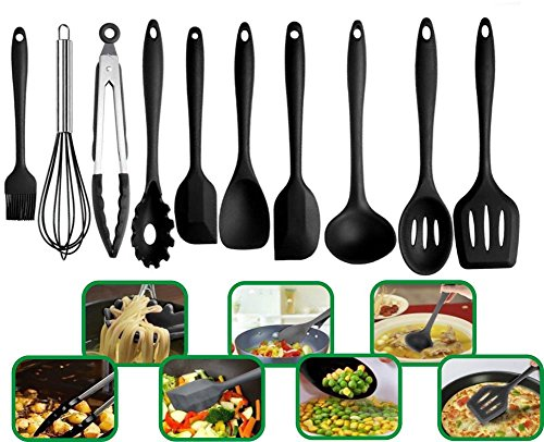 Cooking Silicone Kitchenware Non-toxic Heat-resistant Non-stick Cooker Bakery Set Kitchen Cookware Tools 10 pcs