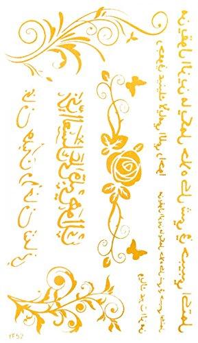 Inde et Middel-Orient style antique langue, roses, conception de fleurs d'or or tatouages temporaires