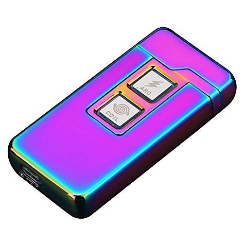 Qimaoo 2 in 1 Plasma Arc Feuerzeug und Coil Feuerzeug,Aufladbare Winddichte USB Zigarettenanz&uumlnder Ber&uumlhrungssteuerung Regenbogen