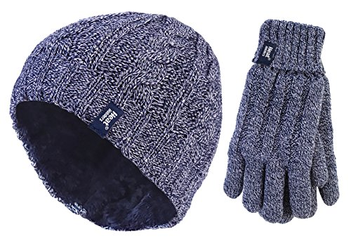 Heat Holders - Damen winter warm fleece beanie mütze und handschuhe set...