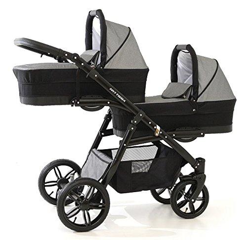 Passeggino gemellare completo a 3 pezzi, passeggini + navicelle + seggiolini da auto di gruppo 0 + accessori, grigio e nero