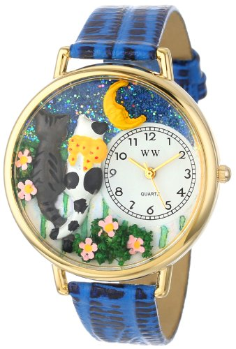 Whimsical Watches Unisex-Armbanduhr Cats Night Out Royal Blue Leather and Goldtone Watch #G0120009 Analog Leder Mehrfarbig G-0120009 (Watch Cat Männer)