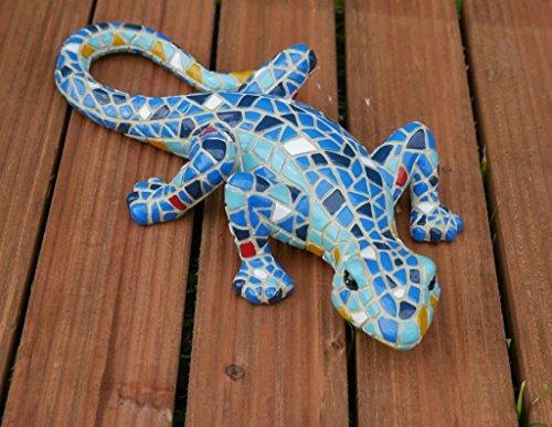 "Garden Mile® 9"" Mosiac Lizards Gecko Free Standing Colourful Hand Painted Garden Ornament For Garden Decoration Made From Tough Durable Resin. Garden Decor Wall Art (Blue)"