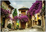 Wallario Wand-Bild 70 x 100 cm | Motiv: Malerische Stadt in der Provence mit bunten Blumen | Direktdruck auf 5mm Starke Hartschaumplatte | leichtes Material | günstig