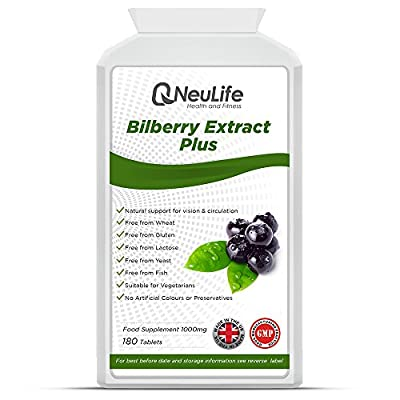 Bilberry Extract Plus 1000mg - 180 Capsules - by Neulife Health and Fitness by Neulife Health and Fitness