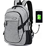 Trustbag Business Water Resistant Polyester Laptop Backpack with USB Charging Port and Lock Fits Under 17-Inch Laptop and Notebook,Grey (Grey)