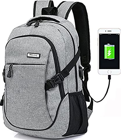 Trustbag Business Water Resistant Polyester Laptop Backpack with USB Charging Port and Lock Fits Under 17-Inch Laptop and Notebook,Grey