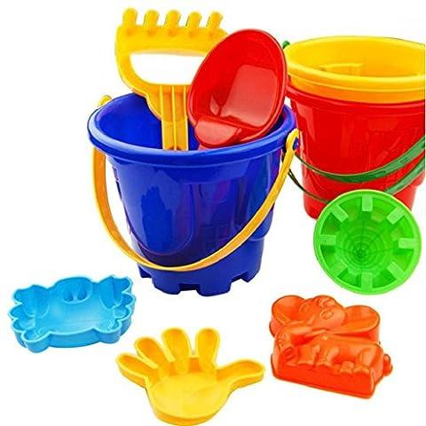 Beach Toys, SHOBDW 7Pcs Sand Sandbeach Kids Beach Toys Castle Bucket Spade Shovel Rake Water Tools (7 Pcs,