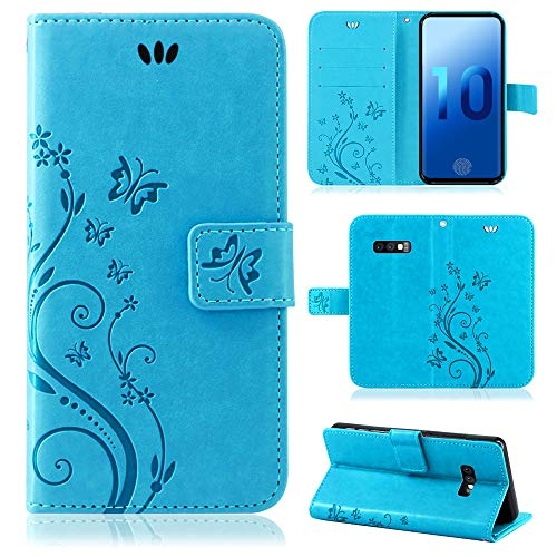 betterfon | Flower Case Handytasche Schutzhülle Blumen Klapptasche Handyhülle Handy Schale für Samsung Galaxy S10e SM-G970 Blau -