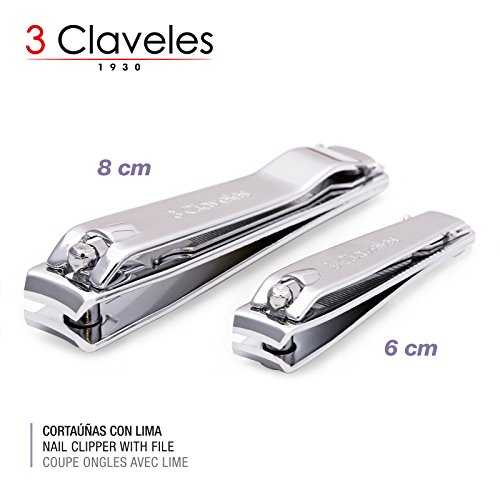 3 Claveles - Lote 2 Cortaúñas Cromados con Lima para Manos y Pies en Acero Inoxidable al Carbono. Acabado Metalico. Medidas 6 y 8 cm