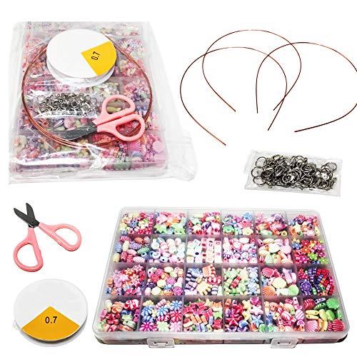 Moji Toys Schmuckperlen Anhangen Set in Verschiedenen Formen für Ketten Schmuckherstellung Bastel n - Beinhaltet 1000 Bunte Perlen in 24 verschiedenen Formen und Farben + Alles notwendige Zubehör.