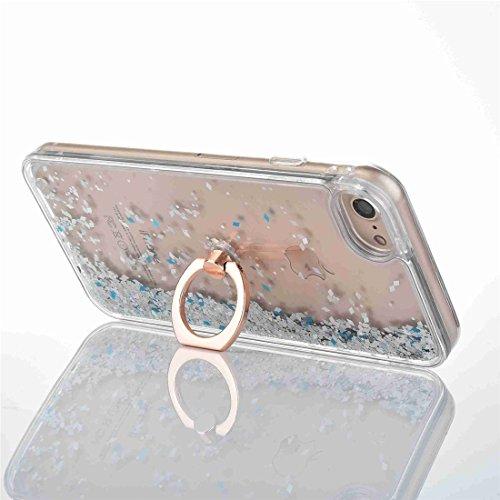 iPhone 7Plus Paillettes liquide Coque, i7Plus Coque rigide souple TPU Edge Coque Bling, CE iPhone 7Plus NEUF Cool 3d de luxe Creative liquide dynamique Paillettes Coque, Sparkle cœurs étoiles Diama Diamonds Ring 3