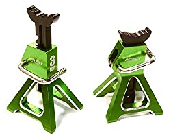 Integy Rc Hobby C26410 Green Realistic Model 3 Ton Jack Stands (2) For 1/10, 1/8 Scale & Rock Crawler