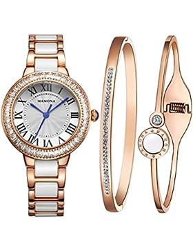 [Gesponsert]MAMONA Damen Uhren Armbanduhr Geschenk Set Kristall Akzente Keramik/Edelstahl Rose Gold L68008RGGT