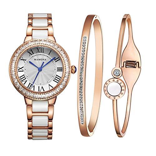 MAMONA Damen Uhr analog Japanisches Quarzwerk mit Edelstahl und Weiße Keramik Armband Set Rose Gold L68008RGGT