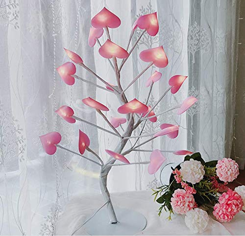 Faserzweige herzförmige kleine Tischlampe LED Mädchen Herz Zimmer Schlafzimmer romantische Laterne String Geschenk 1P -