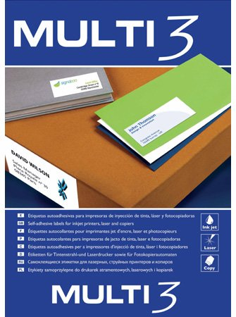 Etiquetas Adhesivas Multi3 Para Inkjet Laser Y Fotocopiadoras Cantos Rectos 100 Hojas 70 X 67.7mm