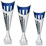 tecnocoppe Tris Coppe economiche Decoro Blu h 38,00 34,00 30,00 cm Premiazioni Sportive Targhetta Personalizzata Omaggio