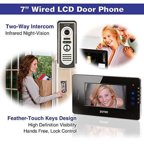 "Generic 7"" inch Touch Key Color LCD Video Door Phone Doorbell Home Entry Intercom System 1 Monitor 2 Metal Camera Night Vision 705 (Black)"