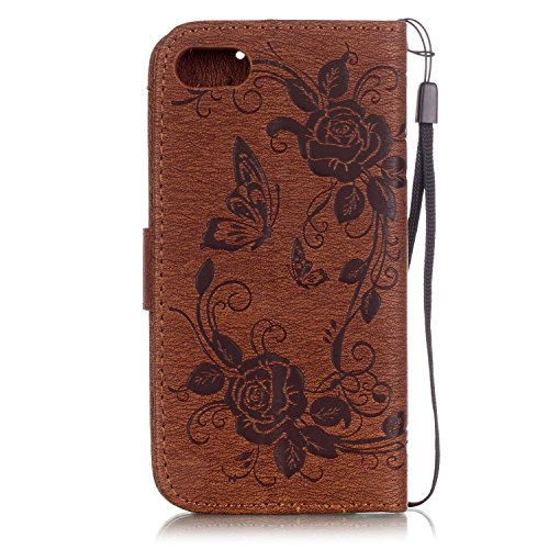 iPhone 7 Coque Glitter,iPhone 7 Coque Souple,iPhone 7 Coque Cuir,iPhone 7 Coque Fleur Etui,iPhone 7 Leather Case Wallet Flip Protective Cover Protector,iPhone 7 Coque Portefeuille PU Cuir Etui,EMAXELE F Butterfly Flower 7