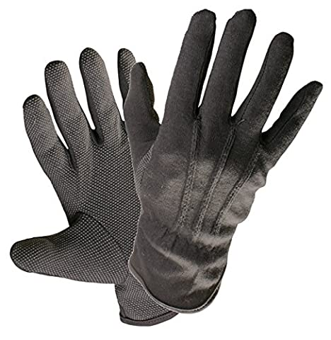 1 PAIR JEWELLERY ANTIQUES WATCH MAKERS HANDLING GLOVES BLACK COTTON MICRO DOTS QUALITY (9 - LARGE)