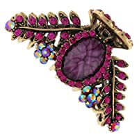 Fuchsia Pink Stone Floral Triangle Hair Claw Clamp Lobster Bulldog Clip Piece