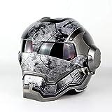 MENUDOWN Motorrad Helme,Full Face Touring Motorrad Harley Helm Doppel-Objektiv-Rennhelm Vintage Helm...