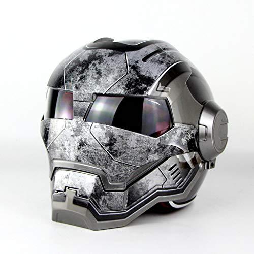 MENUDOWN Motorrad Helme,Full Face Touring Motorrad Harley Helm Doppel-Objektiv-Rennhelm Vintage Helm Persönlichkeit Cooler Helm Iron Man Helm Motorrad Helm Hälfte Jethelm ABS, Bright Gray ~ war-M (Iron Motorrad Helm Man)