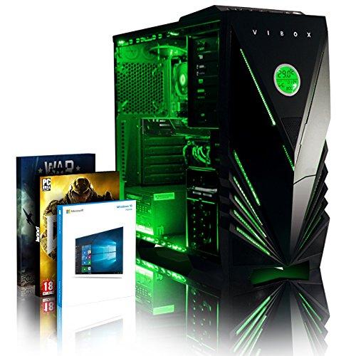 VIBOX Focus 68 Gamer PC - 4,3GHz AMD FX CPU 4-Core, GT 710 GPU, buon mercato, Famiglia, Dekstop Gaming PC con 2 buoni di gioco (Includere DOOM), Windows 10 OS, Illuminazione verde interna, Garanzia a vita* (4,2GHz (4,3GHz Turbo) AMD FX 4350 Quad 4-Core CPU Processore, Nvidia Geforce GT 710 1GB scheda grafica dedicata GPU, 16GB Memoria DDR3 1600MHz RAM ad alta velocità, 1TB (1000GB) Sata III 7200rpm Hard-Disk, 400W PSU 85+ Alimentatore, Caso Vibox Predator LED verde Gaming, AM3 + Scheda Madre)