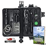 Survival Kit Set mit EBook zum Outdoor Camping und Wandern - Mit Klappmesser, Paracord Armband, Taschenlampe, Tactical Pen, Feuerstein, Kompass, Rettungsdecke, Multitool Karte und weiterem Zubehör/ Werkzeug für den Notfall