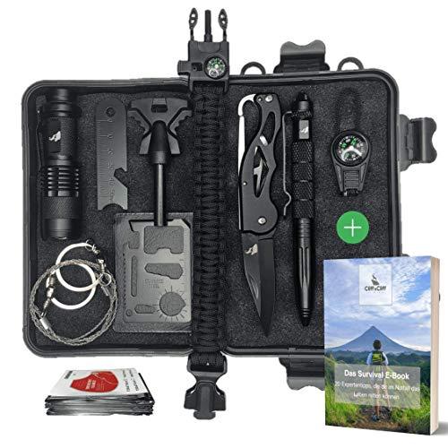 Cliff&Cliff Survival Kit mit EBook - Outdoor, Camping und Wandern - Notfall Set mit Klappmesser, Paracord Armband, Taschenlampe, Tactical Pen und weiterem Zubehör