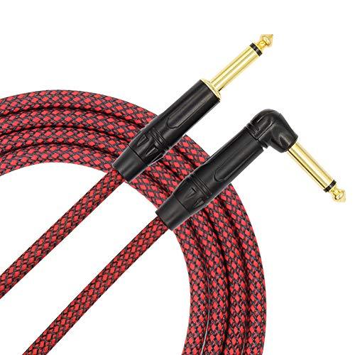 Sguan-wu 3 / 6m 6.35mm Ángulo recto Macho a recto Guitarra eléctrica Macho Cable para bajo - Rojo + Negro 3M